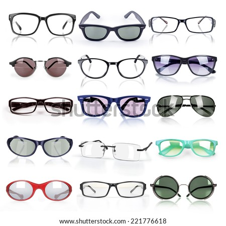 sunglasses and eyeglasses collection isolated - stock photo