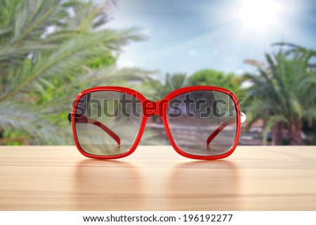 sunglasses and red color