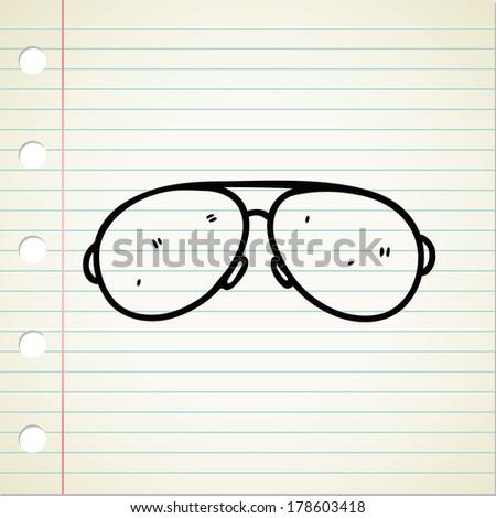 sunglasses doodle background - stock photo