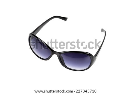 Sunglasses eye wear reflect in the mirror isolated on white background