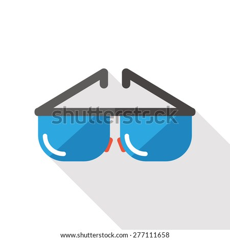 Sunglasses flat icon with long shadow - stock photo