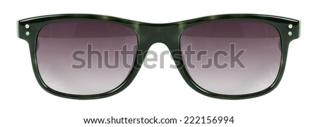 Sunglasses green frame and red color lens isolated against a clean white background nobody - stock photo