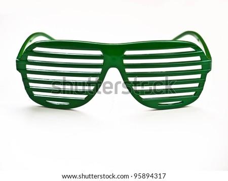 Sunglasses / Green sunglasses isolated on white background / retro style - stock photo