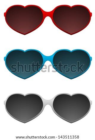 sunglasses heart shape - stock photo