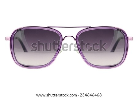 Sunglasses isolated on white background, Modern sunglasses, Purple.