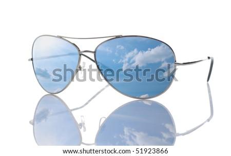 Sunglasses isolated over white. - stock photo