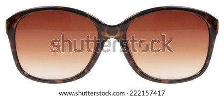 sunglasses large brown tortois shell frame red lens color isolated against a clean white background nobody