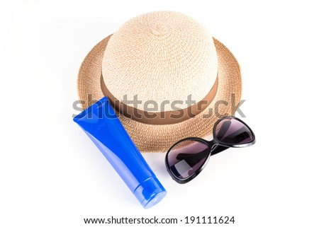 Sunglasses, Straw Hat, Sun Block Isolated on White Background - stock photo