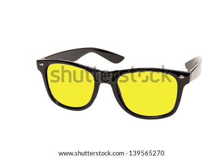 Sunglasses With Bright Colored Lenses/ Isolated on a white background - stock photo