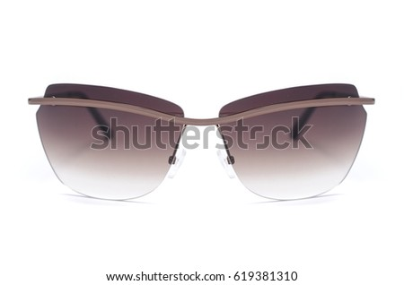 Sunglasses with brown glass isolated on white