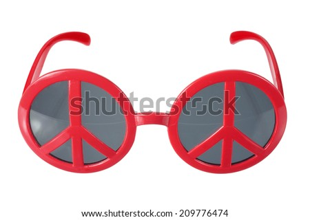 Sunglasses with Peace Sign on White Background - stock photo