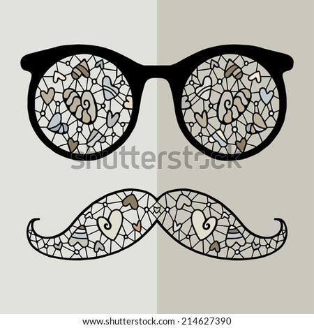 Sunglasses with reflection and mustache for hipster. Raster illustration of accessory retro eyeglasses isolated, print for t-shirt, hand drawn abstract artwork, love hearts pattern - stock photo