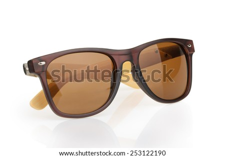 Sunglasses with reflection isolated against a white background - stock photo