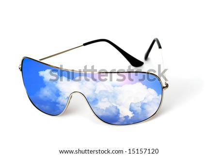 sunglasses with reflection isolated on white background - stock photo