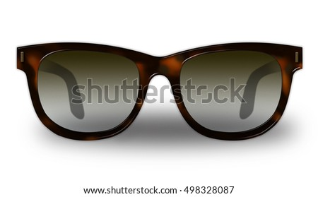 sunglasses with tortoise shell frames isolated on white background raster illustration