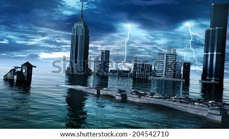 Sunken city with stormy sky and lightning - stock photo