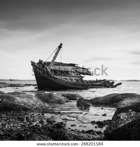 Sunken Ship Wreck in Gulf of Thailand, Vintage black and white - stock photo