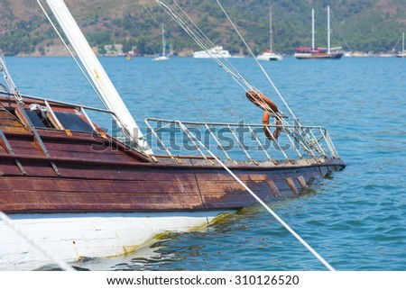 Sunken yacht. - stock photo