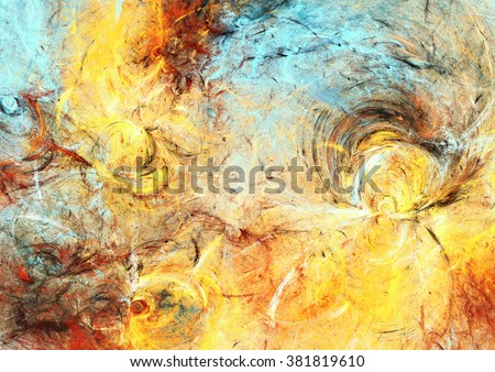 Sunlight. Abstract painting texture in summer color. Modern futuristic shiny pattern. Bright dynamic background. Fractal artwork for creative graphic design