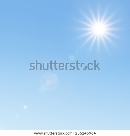 Sunlight and lens flare - stock photo