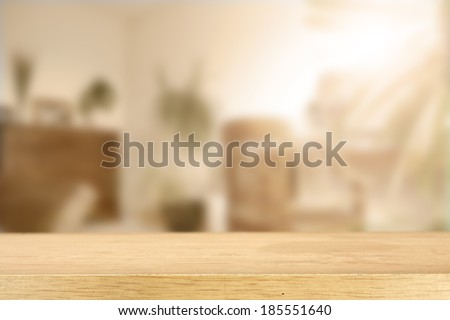 sunlight and room with desk  - stock photo