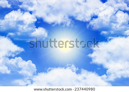 sunlight around clouds - stock photo