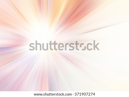 Sunlight. Bright pink and yellow rays on white. Abstract summer background with lighting effect. Soft shiny template for creative graphic design