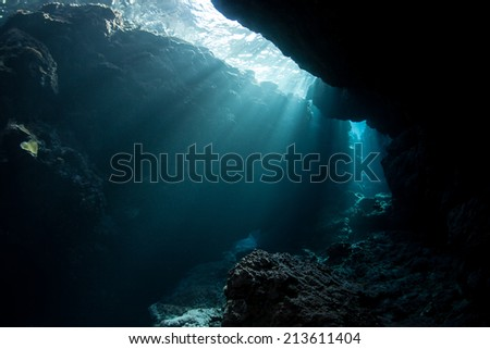 Sunlight cascades into the shadows of an underwater cavern in the Solomon Islands. Many coral reefs have caves and caverns where organisms that prefer darkness lives. - stock photo