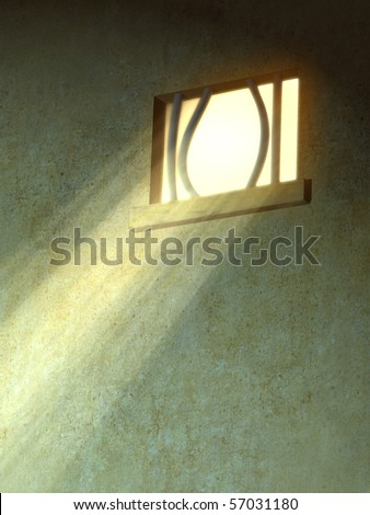 Sunlight entering through a broken prison window. Digital illustration. - stock photo