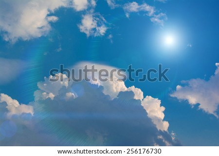 Sunlight in Blue sky with clouds - stock photo
