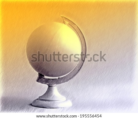 sunlight on globe - drawing style