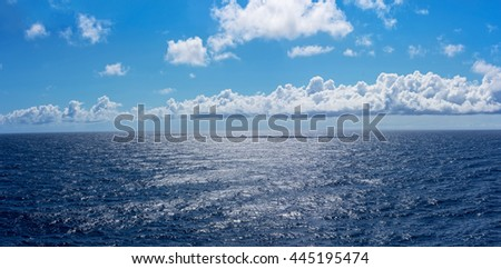 Sunlight on the deep blue North Atlantic in route to Bermuda. - stock photo