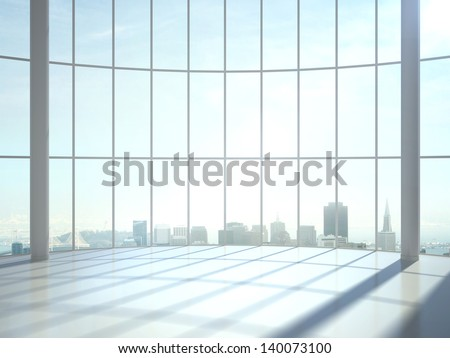 sunlight room and big window - stock photo