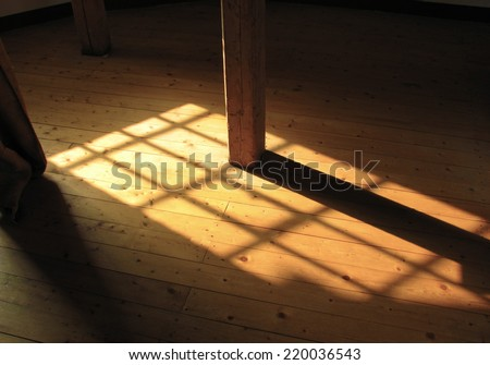 Sunlight streams through window onto wooden floor.