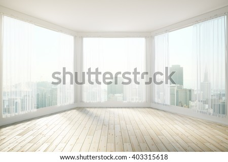 Sunlit interior design with panoramic windows revealing city view. 3D Rendering - stock photo