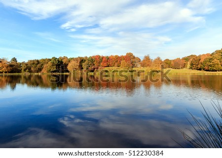 Sunlit Landscape view across an English lake towards a distant Autumn woodland backdrop