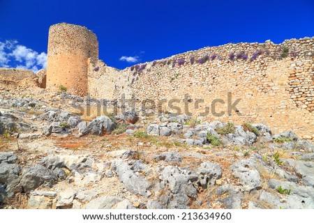 Sunlit walls of Kastro Larissa, Venetian fortress built on top of the old Greek citadel, Argos, Greece - stock photo