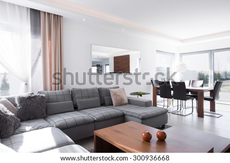 Sunny and light living room in the house  - stock photo