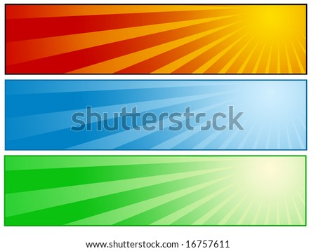 Sunny banner set - stock photo