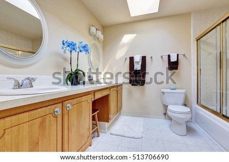 Sunny bathroom with double sink vanity and blue orchid pot on it , glass screened shower and ceiling with skylight. Northwest, USA