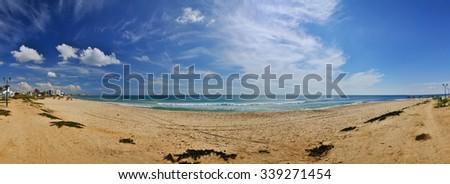 Sunny beach, Hammamet in Tunisia near Mediterranean Sea, Africa, HDR Panorama - stock photo