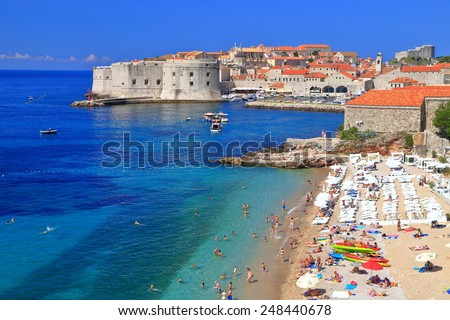 Sunny beach on Eastern side of the old town of Dubrovnik, Croatia - stock photo