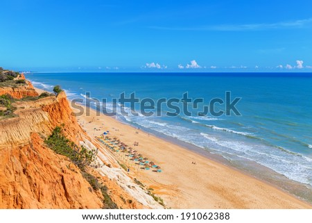 Sunny beach summer sea Albufeira in Portugal. For holiday enjoyment. - stock photo