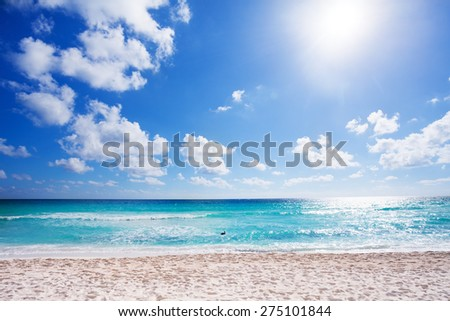 Sunny beach with white sand Cancun, Mexico  - stock photo