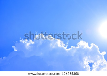 Sunny blue sky background - stock photo