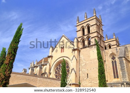 Sunny building of the Montpellier Cathedral, Languedoc-Roussillon, France
