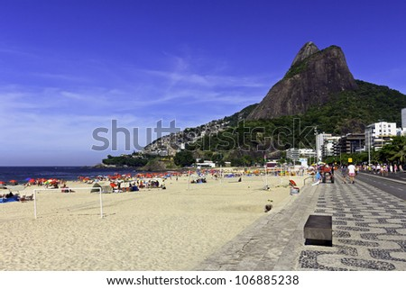 Sunny Carnival day on Ipanema Beach - stock photo