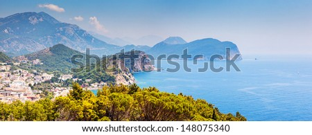 Sunny day and beautiful landscape over Montenegro coastline. Balkans, Adriatic sea, Europe. Beauty world. - stock photo