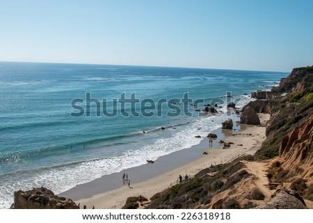 Sunny day at El Matador State Beach in Malibu, California. - stock photo