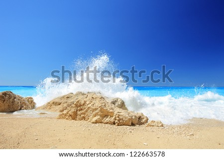Sunny day at Porto Katsiki, Lefkada island, Greece - stock photo